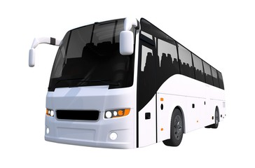 White Tour Bus Isolated
