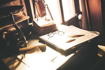 Vintage Desk with Glasses