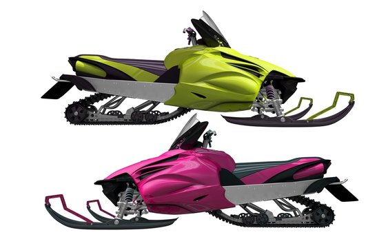 Modern Snowmobiles Isolated