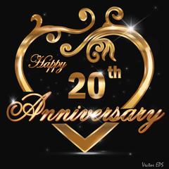 20 year anniversary golden heart card
