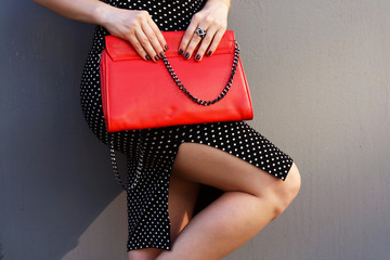 Wall Mural - Fashion sexy woman posing in Fitting dress  red leather clutch