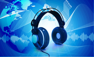 Digital world  with headphones
