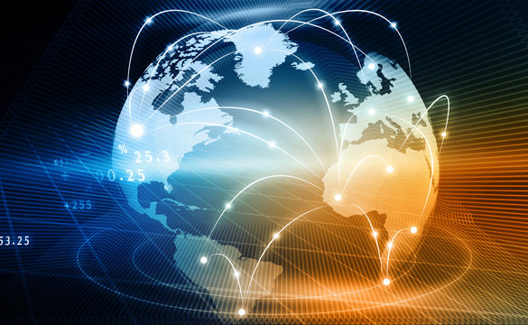 Futuristic background of Global business network