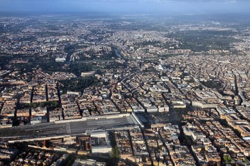 Rome aerial view with Termini Station, Vittoriano and Colosseum