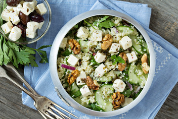 Salad with cucumber, couscous and feta