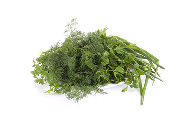 Parsley fennel and green onions.