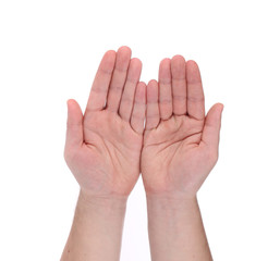 Open palm hands gesture of male hand.