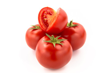 Wall Mural - Four Sliced Tomatoes - Clipping Path Inside
