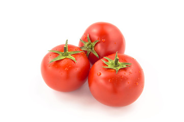 Wall Mural - Three Tomatoes With Water Drops - Clipping Path Inside