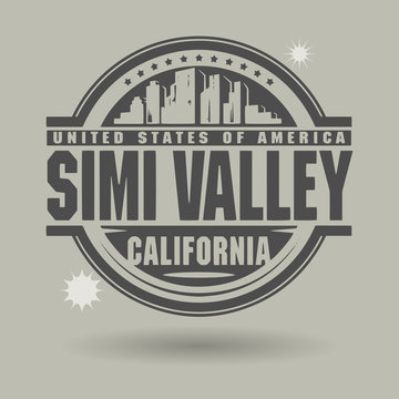 Stamp or label with text Simi Valley, California inside