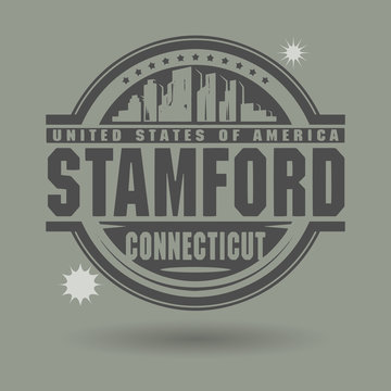 Stamp or label with text Stamford, Connecticut inside
