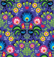 Obraz Seamless Polish folk art pattern with roosters - Wzory Lowickie - fototapety do salonu