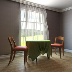 Table and chairs near the window