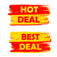 hot and best deal, yellow and red drawn labels