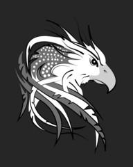 Fototapete - eagle head on gray fondant