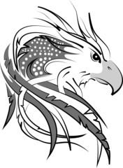 Fototapete - eagle head on white fondant