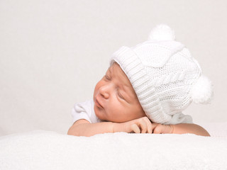 Newborn Baby Girl Sleeping Peacefully