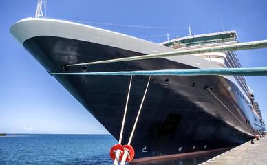 Transatlantic ship at dock front view