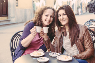 Girls Having Italian Traditional Breakfast at Bar