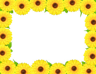 Rectangular frame made of sunflowers around