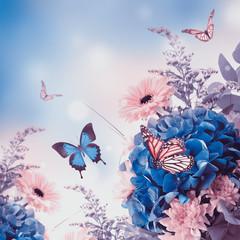 Fototapete - Bouquet from blue hydrangeas and  butterfly, a flower background