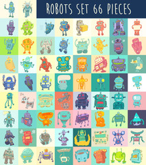Robots vector set, robot toy vector Illustration, hand drawing