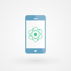 Smartphone and atom icon