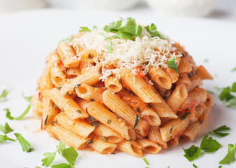 Penne rigate pasta with parmesan cheese