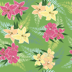 Seamless pattern with decorative lilies.