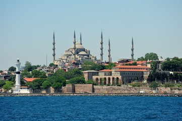 Blue Mosque with lighthouse-Istanbul