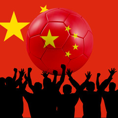 Mass cheering with China Soccer ball
