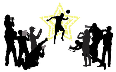 Soccer player  and group of people with camera.Vector silhouette