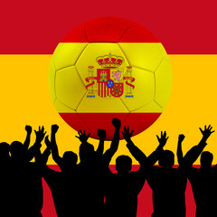 Mass cheering with Spain Soccer ball