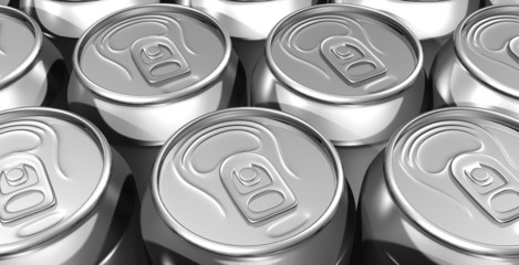Close up aligned soda cans