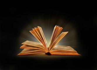 Book. Opened magic book with magic light. Education