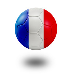 Soccer ball with France flag isolated in white