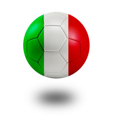 Soccer ball with Italy flag isolated in white
