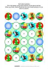 Picture sudoku puzzle, Christmas or New Year themed