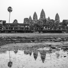 Angkor Wat Temple, Siem Reap, Cambodia. Black and white photo