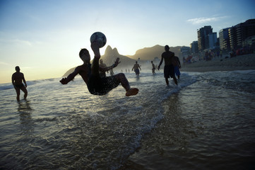 Bicycle Kick Silhouette Playing Altinho Beach Football Rio