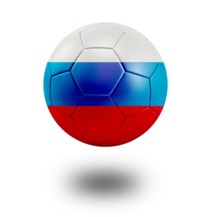 Soccer ball with Russia flag isolated in white