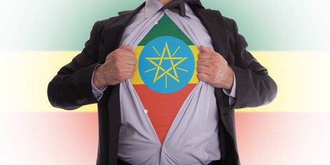 Business man with Ethiopia flag t-shirt