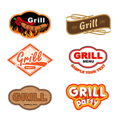 Set of labels with grill and Barbecue
