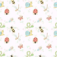 Seamless vector background with cartoon insects.