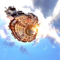 Abstract city view in a circular shape
