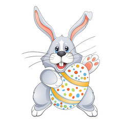 White Easter bunny  with  Egg