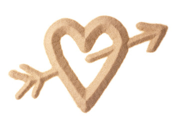 love sign sculptured in sand