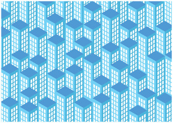 blue vector glassy skyscrapers