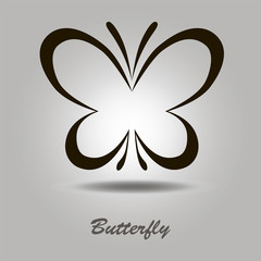 Vector black icon with butterfly on a gray background