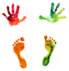 watercolor colorful handprint and footprint